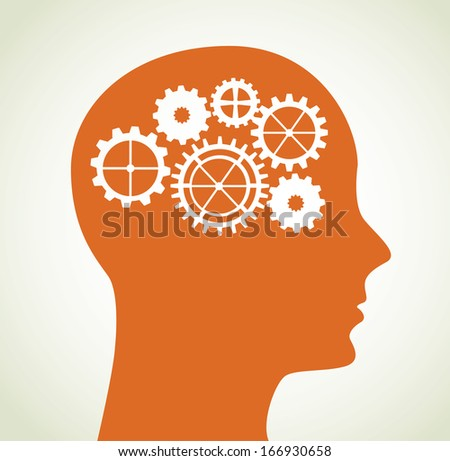 gears spin over beige background vector illustration