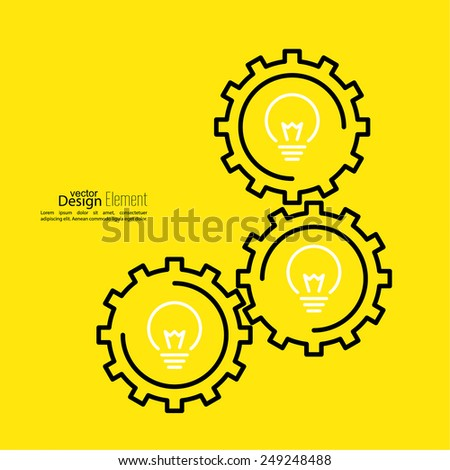 Gears symbol and Bulb light. Concept of motion and mechanics, connection and big ideas inspiration innovation, invention, effective thinking. - stock vector