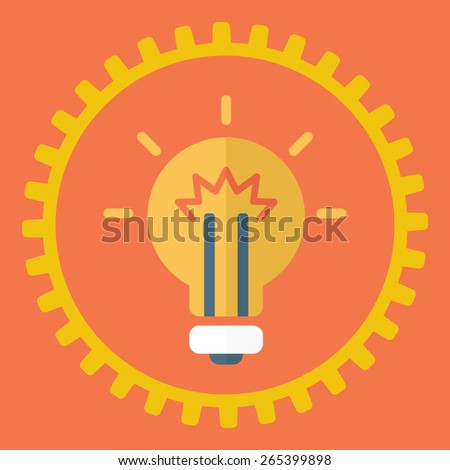 Gears symbol and Bulb light. Concept of motion and mechanics, connection and big ideas inspiration innovation, invention, effective thinking.  A contemporary style with pastel palette, red background - stock vector