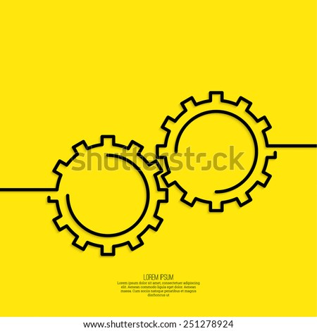 Gears symbol. Concept of motion and mechanics, connection and operation engineering design work. vector.  minimal. Outline. - stock vector