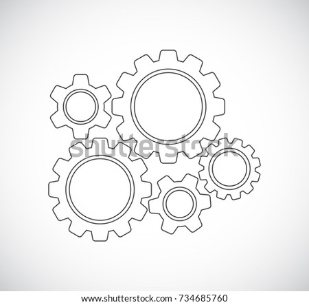 gears teamwork mechanism - concept icon