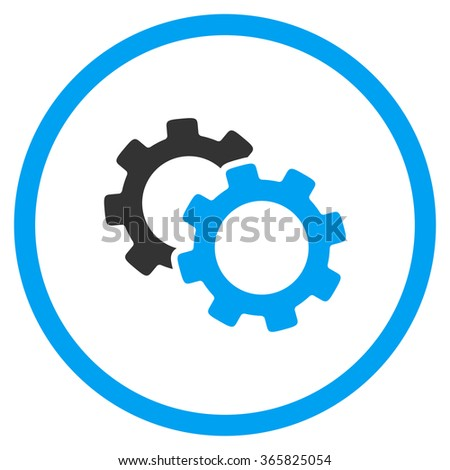 Gears vector icon. Style is bicolor flat circled symbol, blue and gray colors, rounded angles, white background. - stock vector