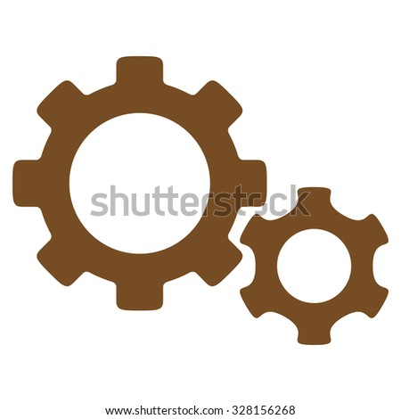 Gears vector icon. Style is flat symbol, brown color, rounded angles, white background. - stock vector