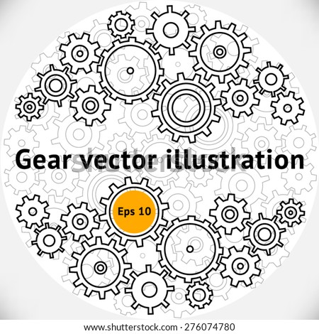 Gears vector illustration, hollow gears set mechanism in a circle - stock vector