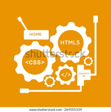 Gears with CSS and HTML5 web texts and symbol.  Editable EPS10 Vector and large jpg illustration  - stock vector