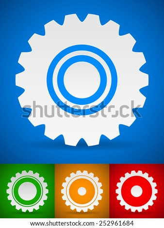 Gearwheel, cog shapes on colorful backgrounds - stock vector