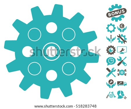 Gearwheel icon with bonus service pictograms. Vector illustration style is flat iconic grey and cyan symbols on white background.