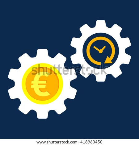 Gearwheel with euro sign. Flat design. Vector ilustration. - stock vector