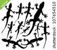 Gecko silhouette vector - stock vector