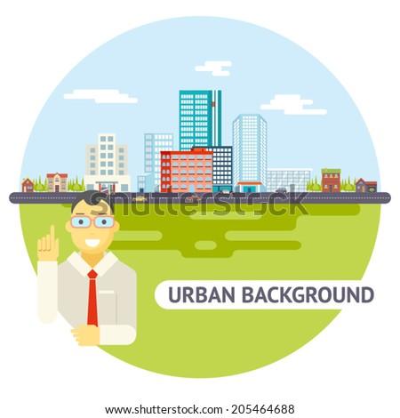 Geek Businessman Urban Landscape City Real Estate Agency Cars Road Modern Flat Design Icon Template Vector Illustration - stock vector