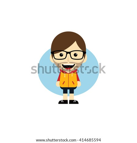 geek cartoon nerd guy character - stock vector