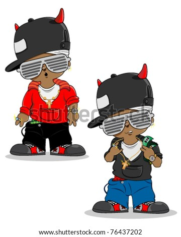 Geek cool Rapper character with jewelry - stock vector