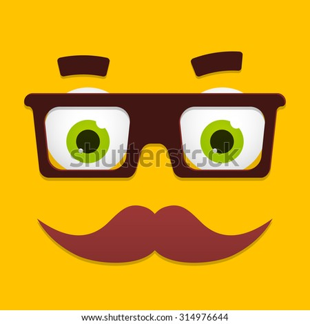 Geek face with black glasses, green eyes and mustache for hipster or nerd avatar vector icon. Funny cartoon character portrait on yellow background. - stock vector