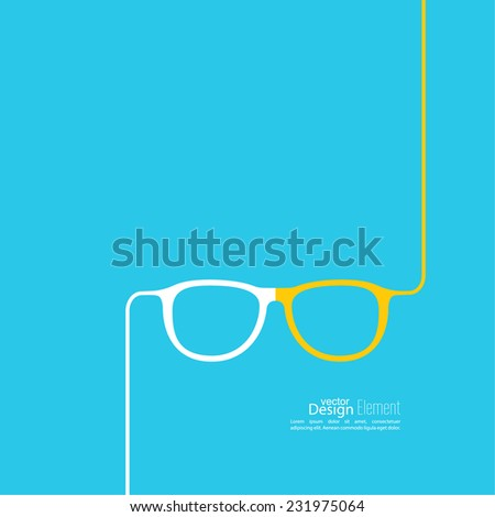 Geek glasses icon. Hipster and nerd style. for mobile apps, web sites and pages, t-shirt design.  blue, white, yellow - stock vector