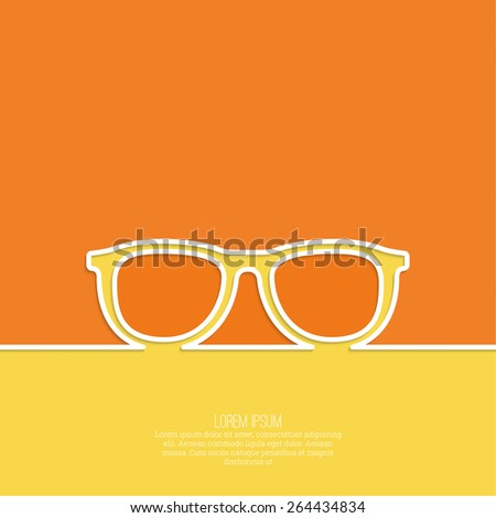Geek glasses icon. Hipster and nerd style. for mobile apps, web sites and pages, t-shirt design.  orange, white, yellow. minimal. Outline. - stock vector