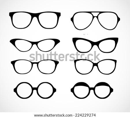 Geek glasses set vector - stock vector