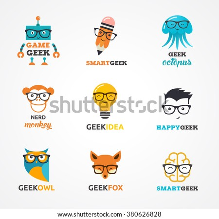 Geek, nerd, smart hipster icons - animals and symbols - stock vector