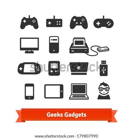 Geeks gadgets flat icon set. From gaming consoles to tablets. - stock vector
