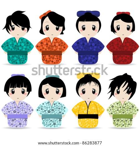 geisha collection - stock vector