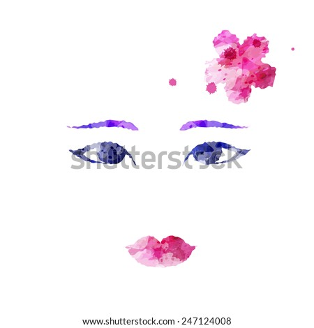 Geisha face, hand drawn watercolor style, isolated vector illustration icon on a white background.  - stock vector