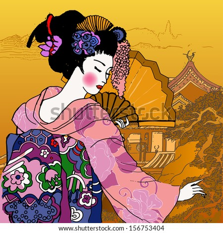 geisha. Japanese Woman.abstract Chinese landscape - stock vector