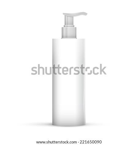 Gel, Foam Or Liquid Soap Dispenser Pump Plastic Bottle White.  - stock vector