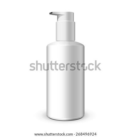 Gel, Foam Or Liquid Soap Dispenser Pump Plastic Bottle White. Ready For Your Design. Product Packing Vector EPS10  - stock vector