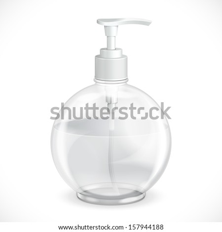 Gel, Foam Or Liquid Soap Dispenser Pump Round Plastic Bottle Transparent White. Ready For Your Design. Product Packing Vector EPS10  - stock vector