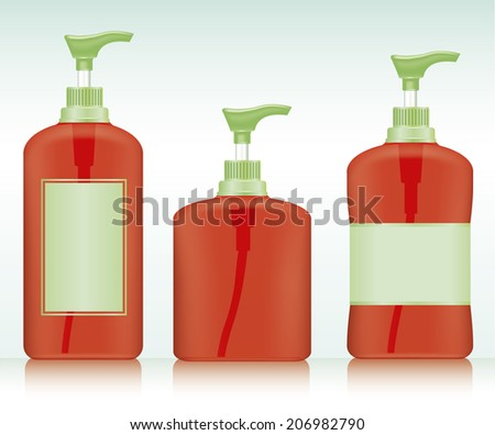 Gel, Foam Or Liquid Soap .Pump Bottle . Ready For Your Design. Product Packing Vector illustration.