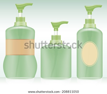 Gel, Foam Or Liquid Soap .Pump Bottle . Ready For Your Design. Product Packing Vector illustration. - stock vector