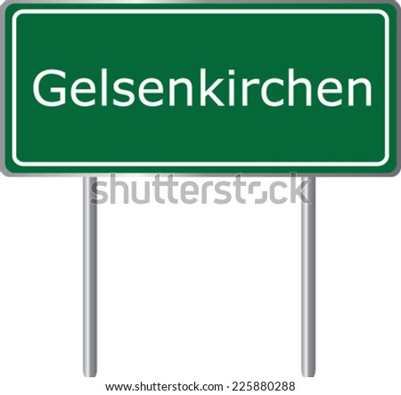 Gelsenkirchen , Germany , road sign green vector illustration, road table - stock vector