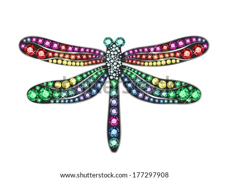 Gem Dragonfly - stock vector