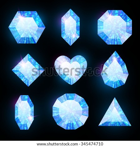Gem Set. Diamond. Blue Collection. Vector illustration