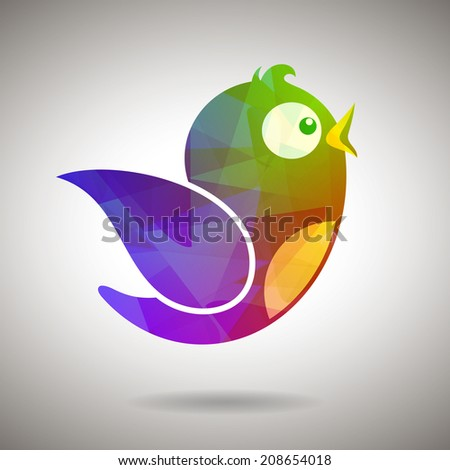 Gem Social Media Bird - stock vector