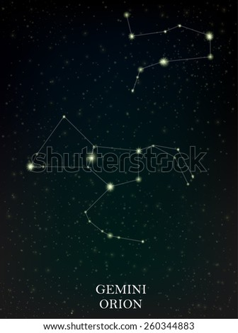 Gemini and Orion constellation