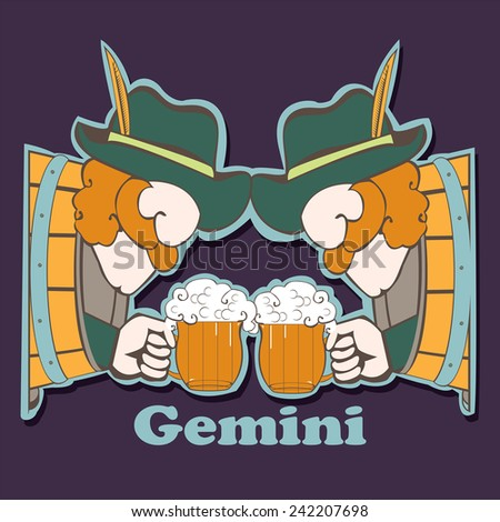 Gemini. File contains images of cartoon men with beer mug who sitting in the beer tuns. Funny zodiac single. Scrap booking style.
