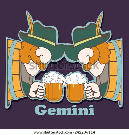 Gemini.File contains images of cartoon men with beer mug who sitting in the beer tuns. Funny zodiac single. Scrap booking style.