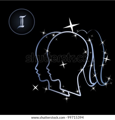 Gemini/Lovely zodiac signs formed by stars on black background - stock vector