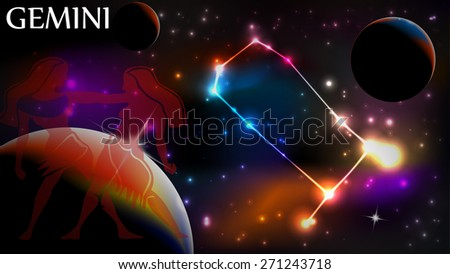 Gemini - Space Scene with Astrological Sign and copy space - stock vector