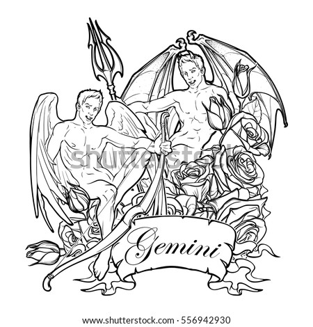 Coloring page fairy stock illustration 564049282 for Gemini coloring pages