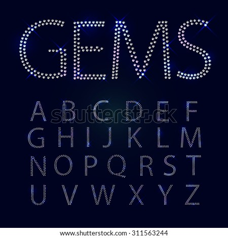 Gems alphabet. All capital letters. Shiny diamond font - stock vector