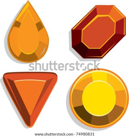 Gems set orange cartoon vector illustration - stock vector