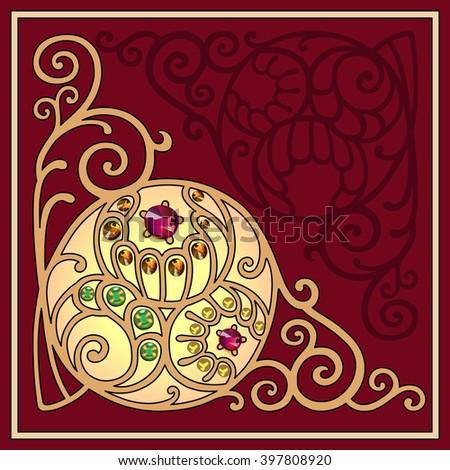 Gemstones golden filigree corner background, vector illustration - stock vector