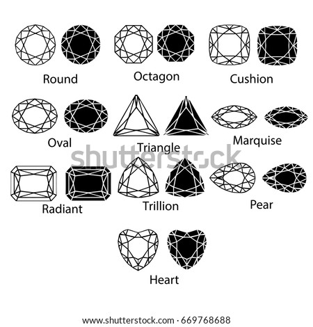 Gemstones vector gem cut isolated set jewelry diamond white crystal illustration. Jewel black silhouette stone.
