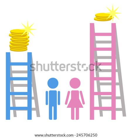 Gender employment discrimination, concept, vector illustration - stock vector