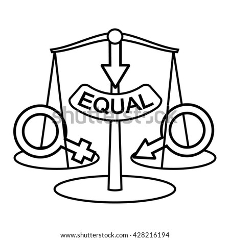 Gender equality concept. Sex equality vector symbol isolated. Woman and man equality metaphor. Male and female equality illustration idea. - stock vector