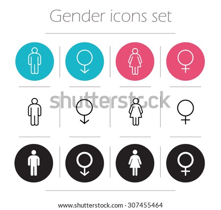 Gender icons set. Lady and gentleman restroom sign. Wc man and woman body shape symbols. Boy and girl silhouette. People pictograms. Contour line male and female vector illustrations isolated on white - stock vector