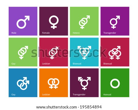 Gender identities icons on color background. Vector illustration. - stock vector