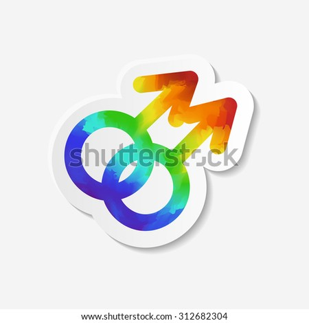 Gender identity icon. Gay symbol. Sticker with watercolor effect. Vector illustration. - stock vector