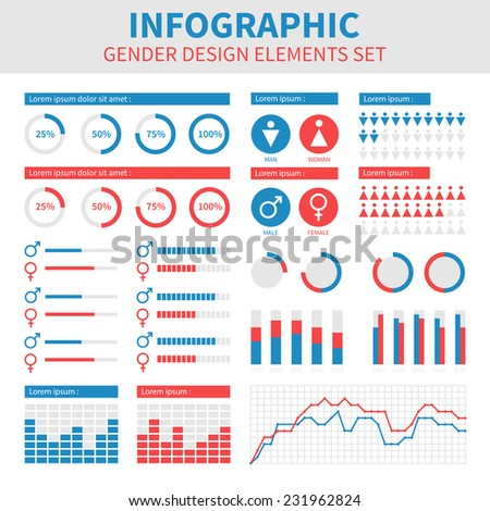 Gender infographic design. Male and female combination. Flat interface. Vector abstract colorful background illustration. Graphic elements set. - stock vector